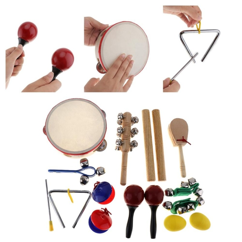 16pcs/lot Musical Instruments Set 10 Kinds Kindergarten Kids Tambourine Drum Percussion Toys for Children / Baby / Early Education - intl