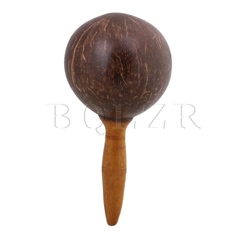 22x11x2.8cm Maraca Handle Coconut Shell Percussion Shaker Dark Brown - intl