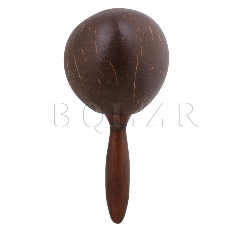 23x11x2.6cm Maraca Handle Coconut Shell Percussion Shaker Dark Brown - intl