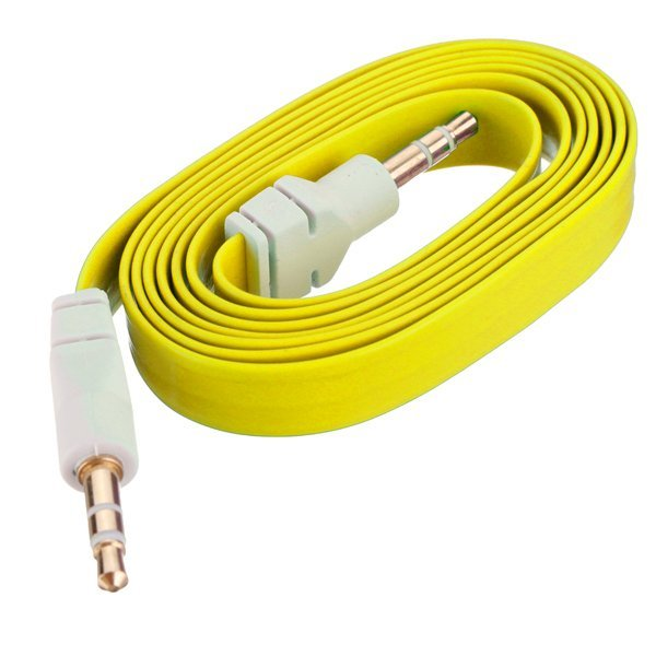 3.5mm 3 Pole Male Audio Stereo AUX Noodle Cable For Cell Phone IPod Mp3 PC PAD (Yellow) - Intl