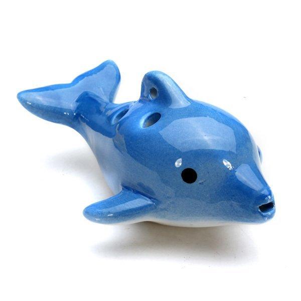 6 Holes Mini Dolphin Shape Ceramic Alto C Ocarina Musical Instruments Flute Gift Deep Blue - Intl