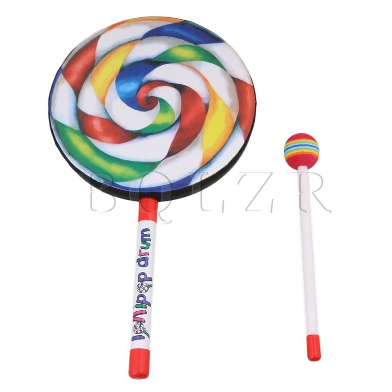 7.9 Inch Plastic Lollipop Shape Baby Hand Drum Percussion Toy Multicolor - intl