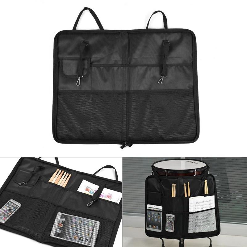 ammoon Zippered Drum Stick Drumsticks Mallet Bag Case with External Pockets Floor Tom Hooks Carrying Handle Shoulder Strap Black - intl
