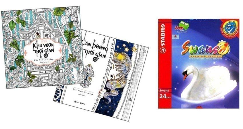 Bộ sách tô màu dành cho người lớn: Căn Phòng Thời Gian + Khu Vườn Thời Gian và Chì Màu Stabilo Swans CL1869-24 - Song Ji-Hye và Hà Hương