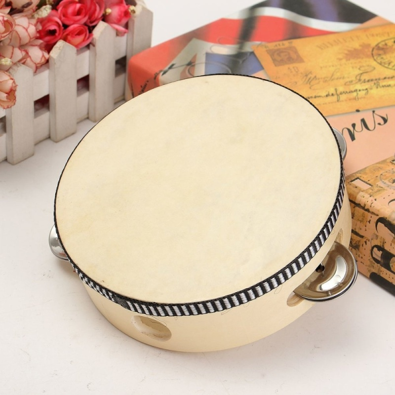 childrens percussion dance props sheepskin tambourine parent-child communication hearing grasping for 3-6 years old 6 inch (natural sheepskin) - intl