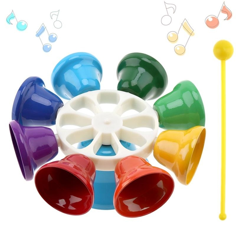 Colorful 8 Note Percussion Bell Hand Bell Musical Children Early Education Musical Instrument - intl