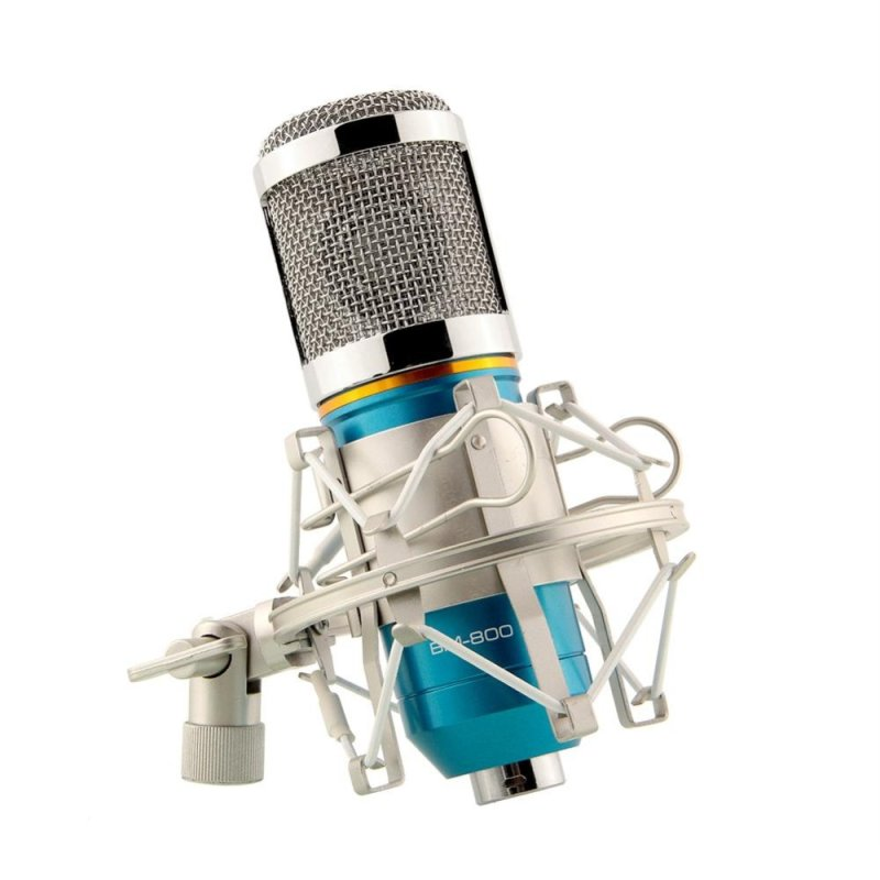 Condenser BM800 Microphone Recording W/Shock Mount Blue+Silver For Stage KTV - intl