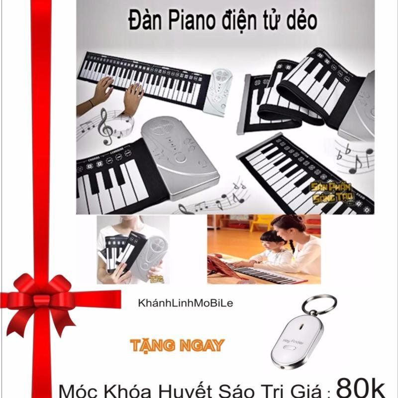 Đàn piano điện tử bàn phím cuộn dẻo 49 keys (Trắng) + Tặng móc khóa huyết sáo