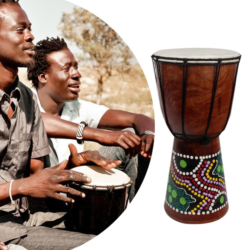 ERA 6 Inch African Djembe Percussion Mahogany Hand Drum with Goat Skin Surface - intl