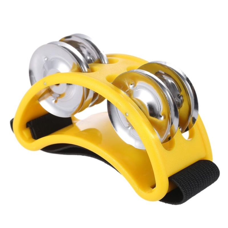 Foot Tambourine Percussion Musical Instrument 2 Sets Metal Jingle Bell Yellow - intl