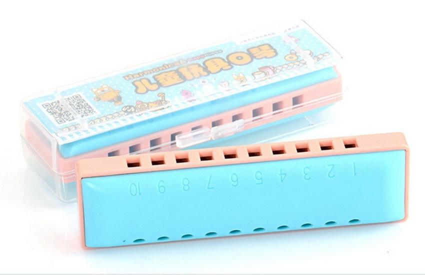 Kèn harmonica diatonic KongSheng Plastic key C (Xanh Hồng)