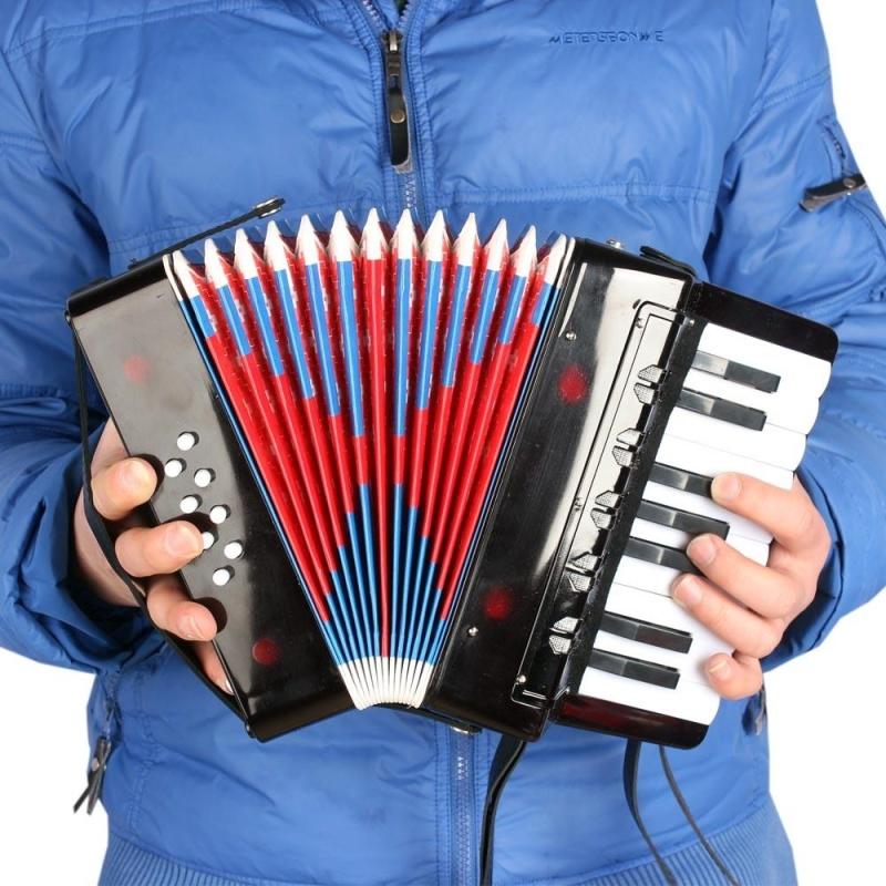 Kids Children 17-Key 8 Bass Mini Small Accordion Educational Musical Instrument Rhythm Band Toy Black ^ - intl