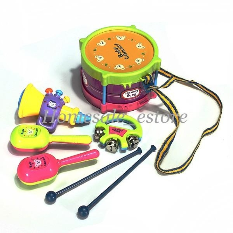 New 5pcs Kids Baby Roll Drum Musical Instruments Band Kit Children Toy Gift Set - intl