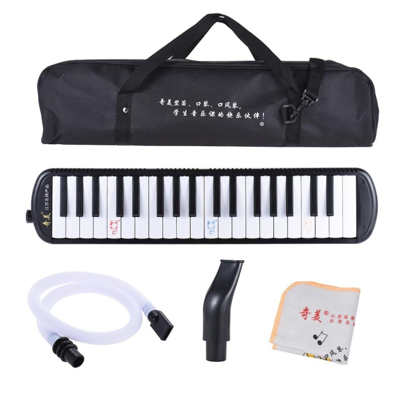 QIMEI QM37A-5 37 Piano Style Keys Melodica Musical Education Instrument for Beginner Kids Children Gift with Carrying Bag Black ^ - intl