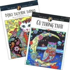 Sách Tô Màu Dành Cho Người Lớn: Mèo Duyên Dáng và Cú Thông Thái - Marjorie Sarnat