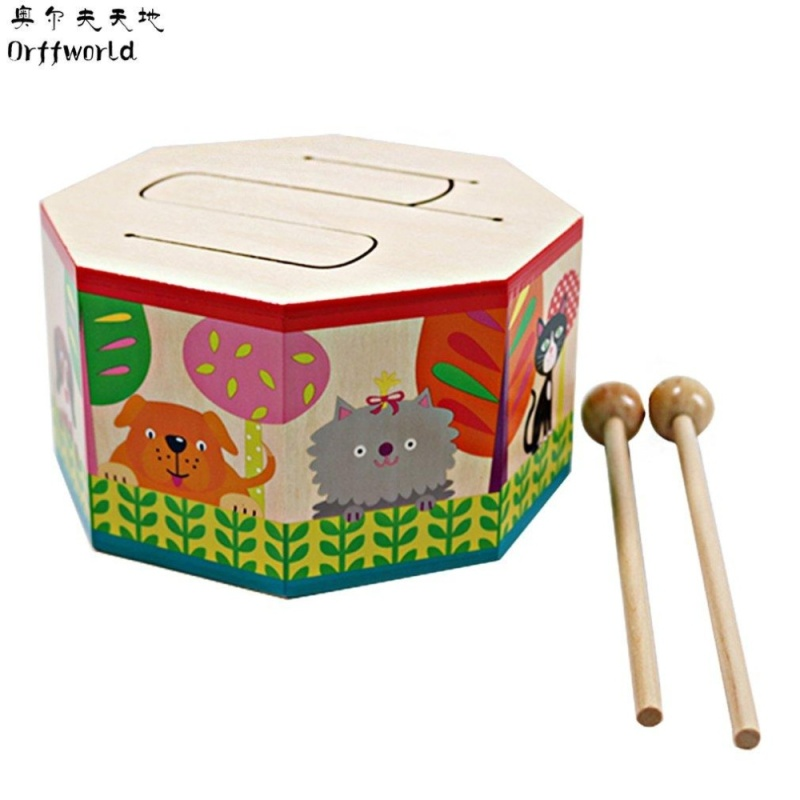 USTORE Orff world Cartoon Wood Hand Drum Beating Musical Instrument with Three Tone SYG(S) Multicolor - intl