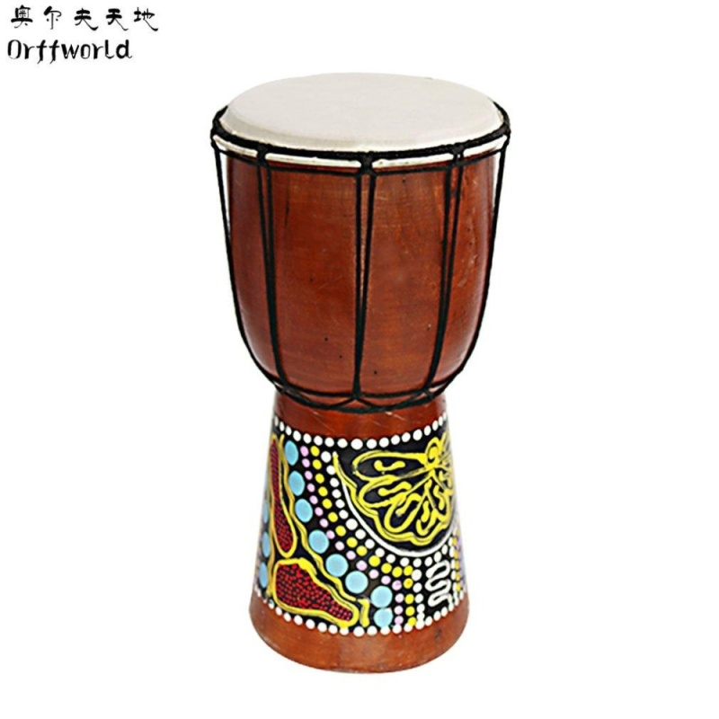 """USTORE Orff world Djembe Drummer Percussion 6"""" Wooden African Style Hand Drum FZG-6M Multicolor - intl"""