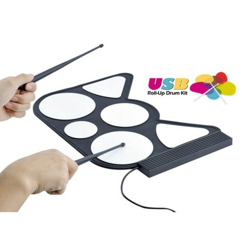 Winterworm®, Soft USB PC Digital Electronic Roll Up Drum Kit Pad Kit W/ Drumsticks For Free Play or Learning Game - intl