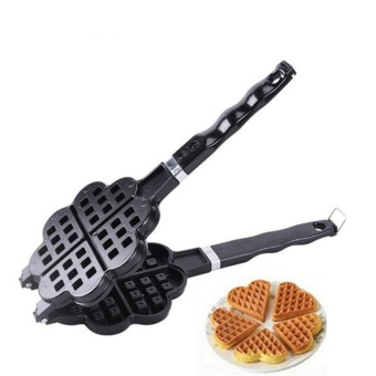 DIY Heart Shape Non-stick Metal Waffle Maker Waffle Mould KitchenCake Baking Dish - intl