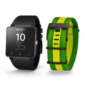 Bộ 1 đồng hồ thông minh dây nhựa sony smartwatch 2 đen và 1 dây vải Hàng nhập khẩu