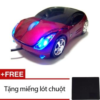 Chuột máy tính hình ô tô Protab đỏ Tặng 1 miếng lót chuột