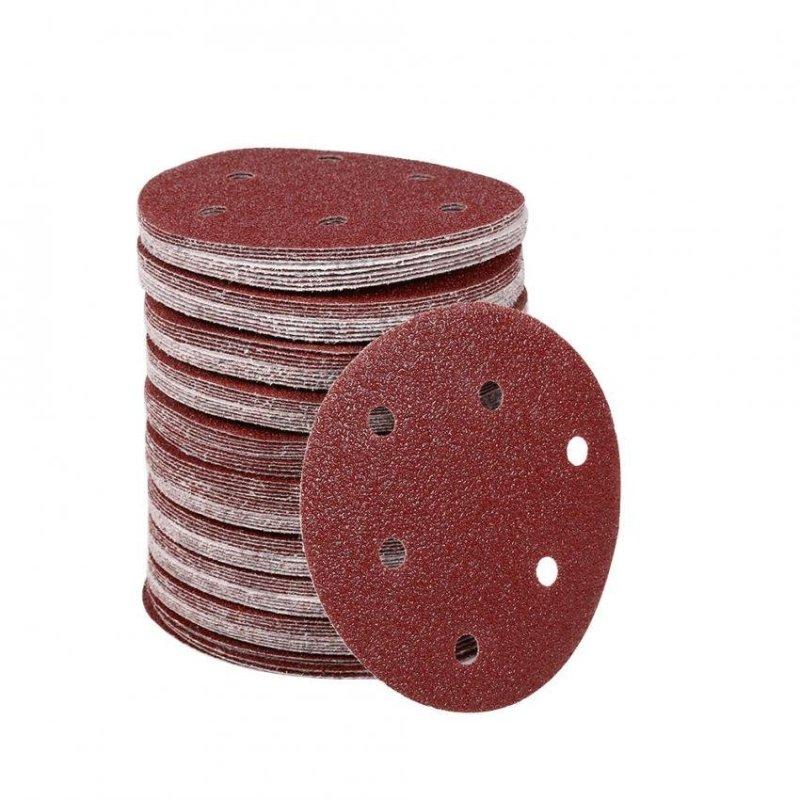 100Pcs 125mm Round Shape Orbit Sander Sand Paper Discs 6 Holes Grit Sanding Sheets (40#) - intl
