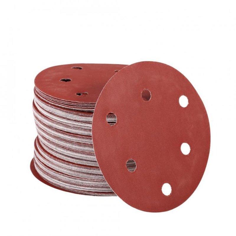 100Pcs 125mm Round Shape Orbit Sander Sand Paper Discs 6 Holes Grit Sanding Sheets (80#) - intl