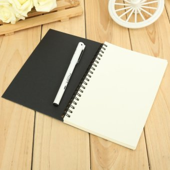 2pcs Reeves Retro Spiral Bound Coil Sketch Book Blank Notebook Kraft Sketching Paper Black Card Cover White Paper Inside Page - intl