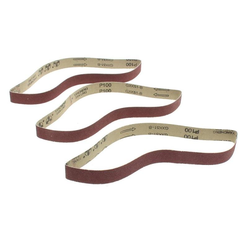 3 Pack 1'' x 30'' Sanding Belts, 100 grit, AL Oxide 2.5cm x 76cm - intl