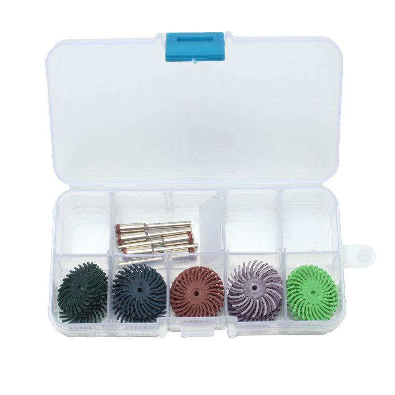 30pc 1inch Radial Bristle Disc Brush 5 Grits + 5 Mandrel Rotary Adapter + 1 Box - intl