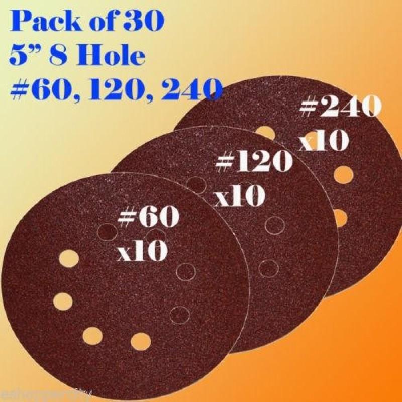 """5"""" 8 Hole 60 120 240 Grit Sanding Disc Random Orbit Hook And Loop Sandpaper Sander - intl"""