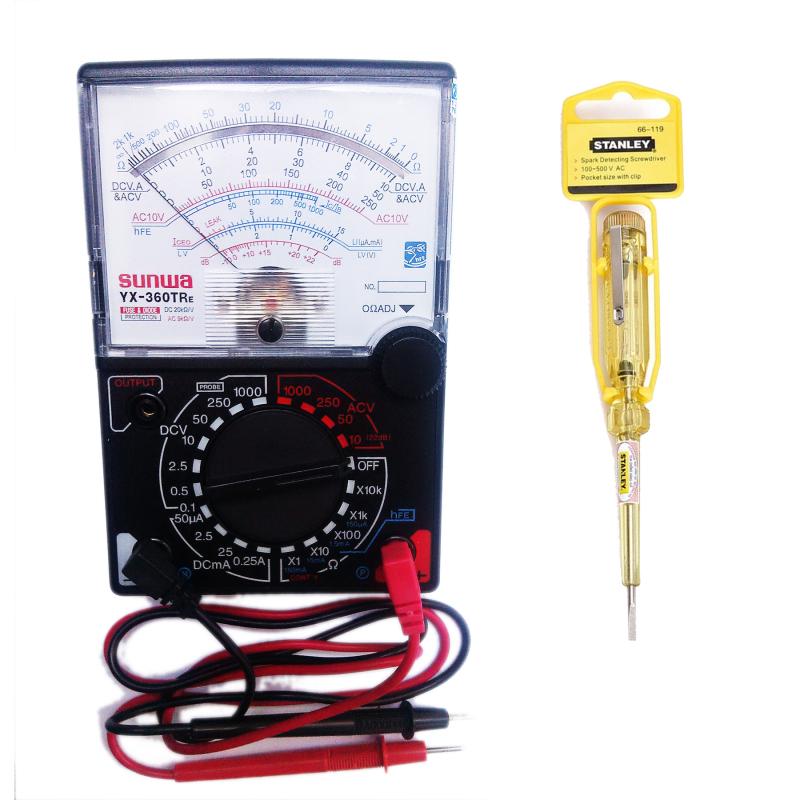 Bộ 1 Đồng hồ đo kim vạn năng VOM (Đen phối trắng) và 1 bút thử điện (Vàng)