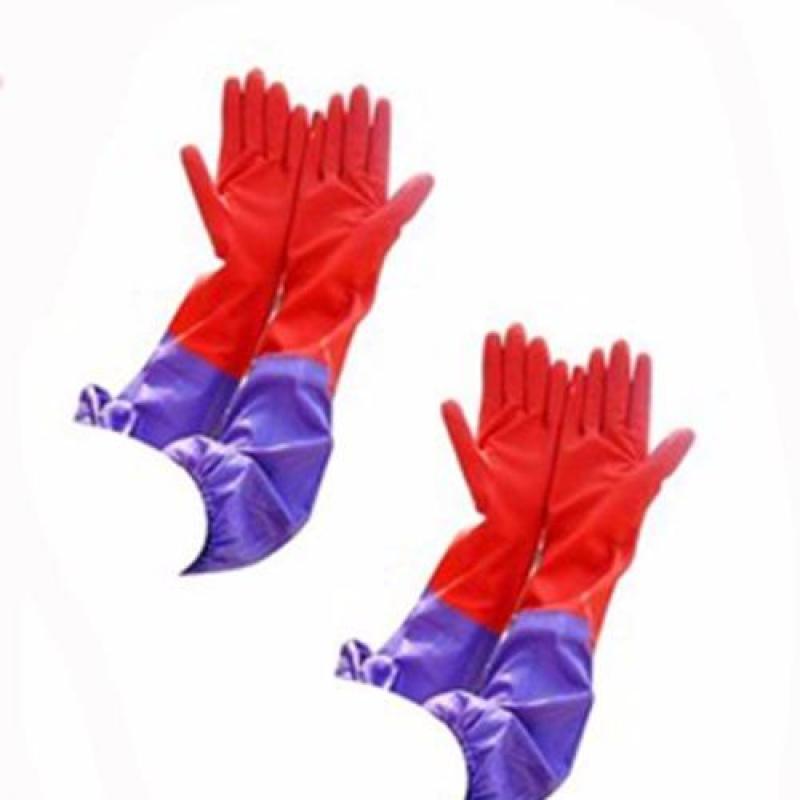 Com bo 02 Đôi găng tay cao su lót nỉ có cạp chun cao cấp TLS168 (Đỏ)
