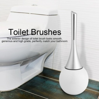 Creative Bathroom Toilet Scrub Cleaning Brush Holder Set withStainless Steel Base (White) - intl