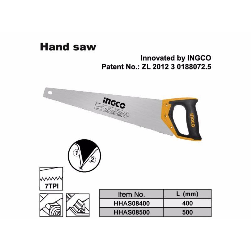 Cưa gỗ cầm tay Ingco 16/400mm - HHAS08400