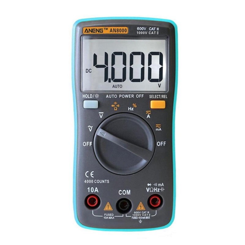 Digital Multimeter 4000 Counts Backlight AC/DC Ammeter Voltmeter Ohm Meter (Blue) - intl