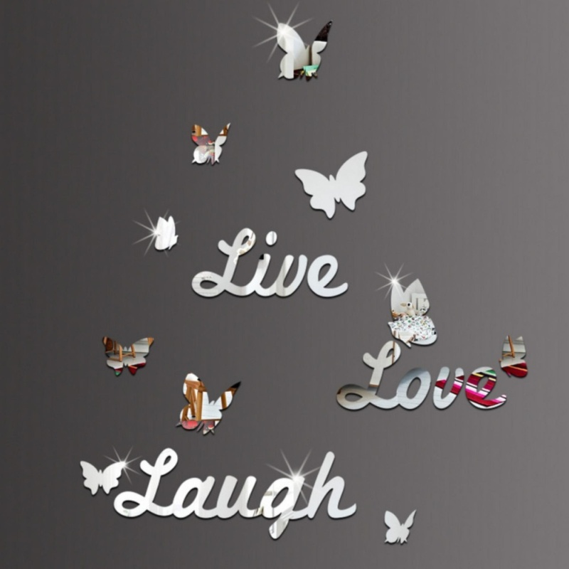New Live Love Laugh English Letter Butterfly Mirror Bedroom Mirror Decorative Wall Stickers - intl