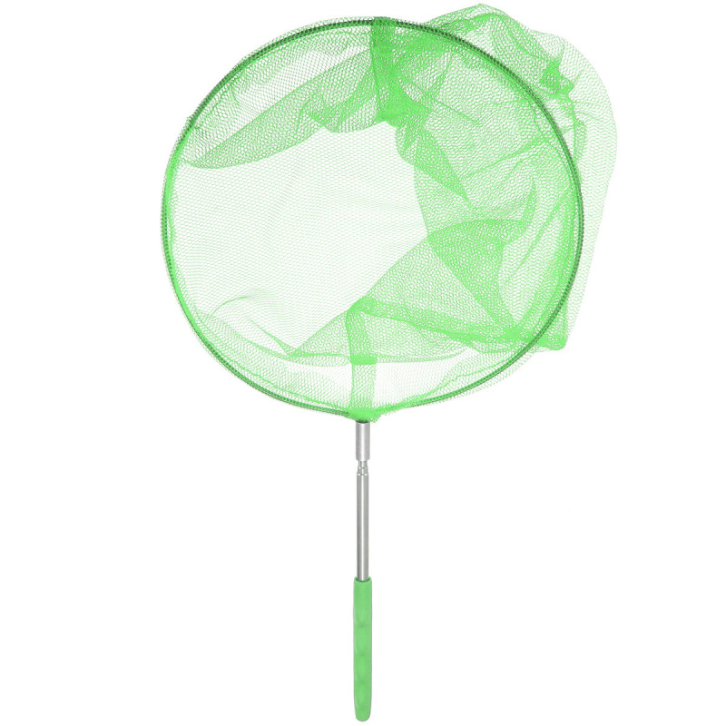 Stainless steel Section Extendable Handle Pole Folding Fishing Net Accessory Kids Child Toy Butterfly Net Insect Bug Garden Tool Green - Intl