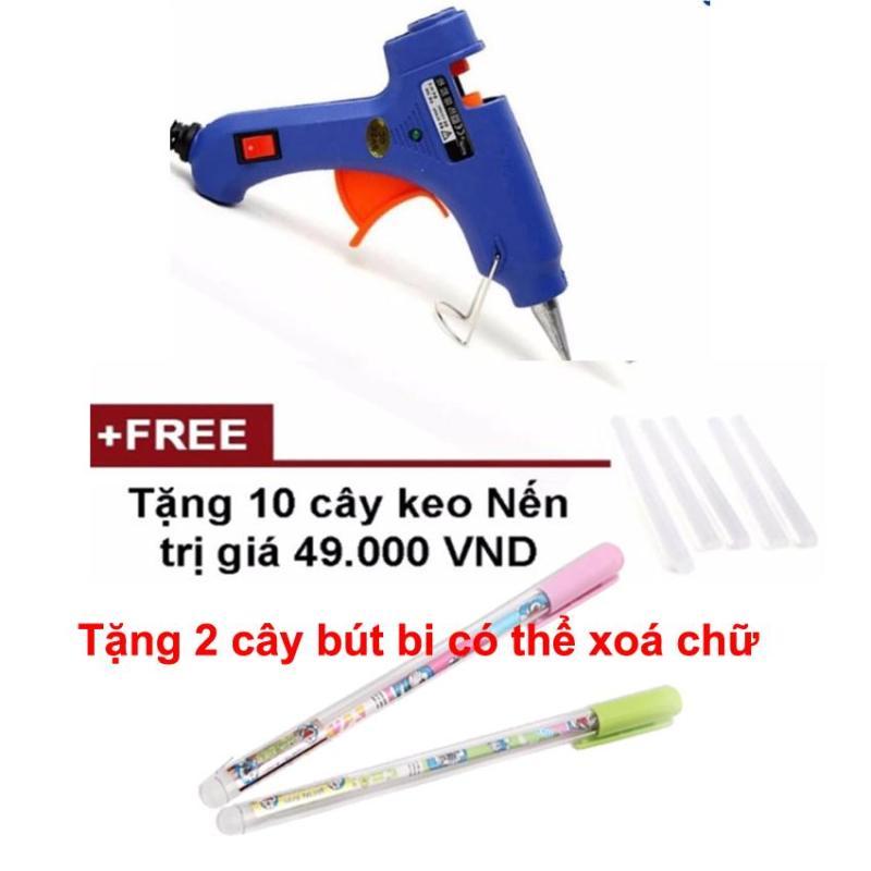 Súng bắn keo nến dán thủ công, gói quà + Tặng 10 cây keo nến tiện dụng - Tặng kèm 2 cây bút bi có thể xoá chữ
