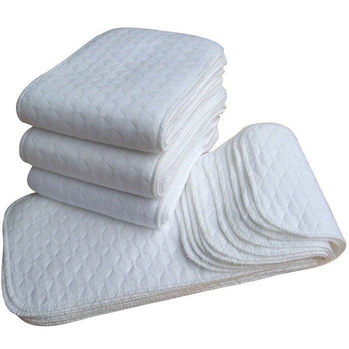 10 Pcs Baby Cotton Washable Reusable Soft Cloth Diaper Inserts White