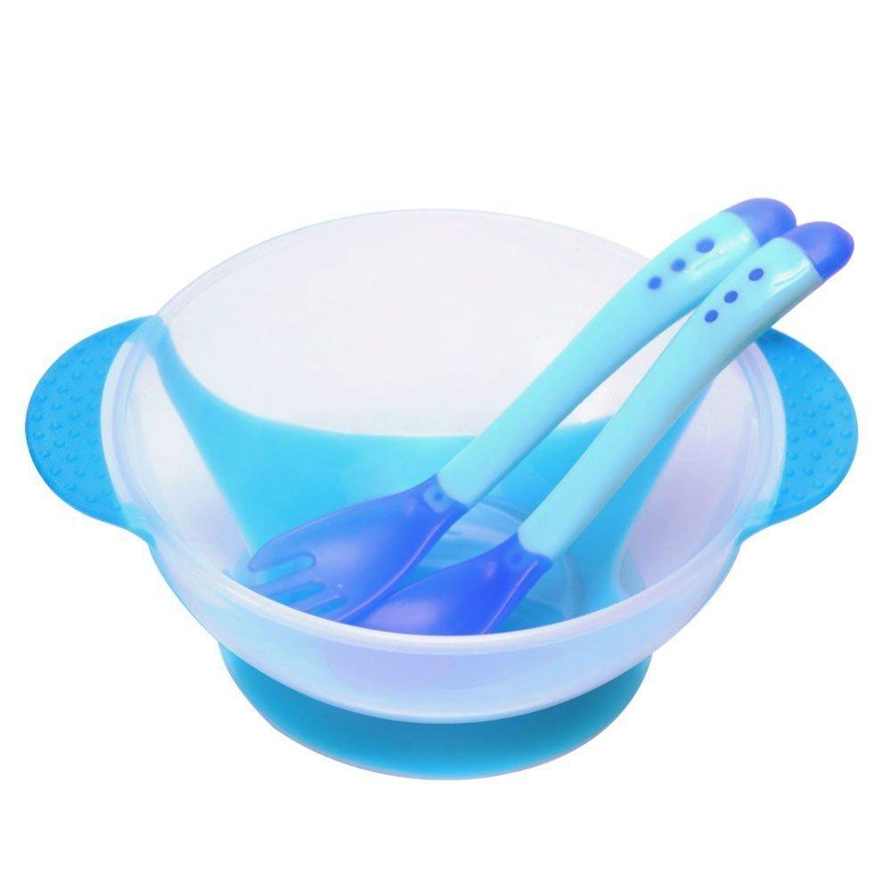 3pcs Babies Set Bowl Suction Cup Sensing Spoon (Blue)