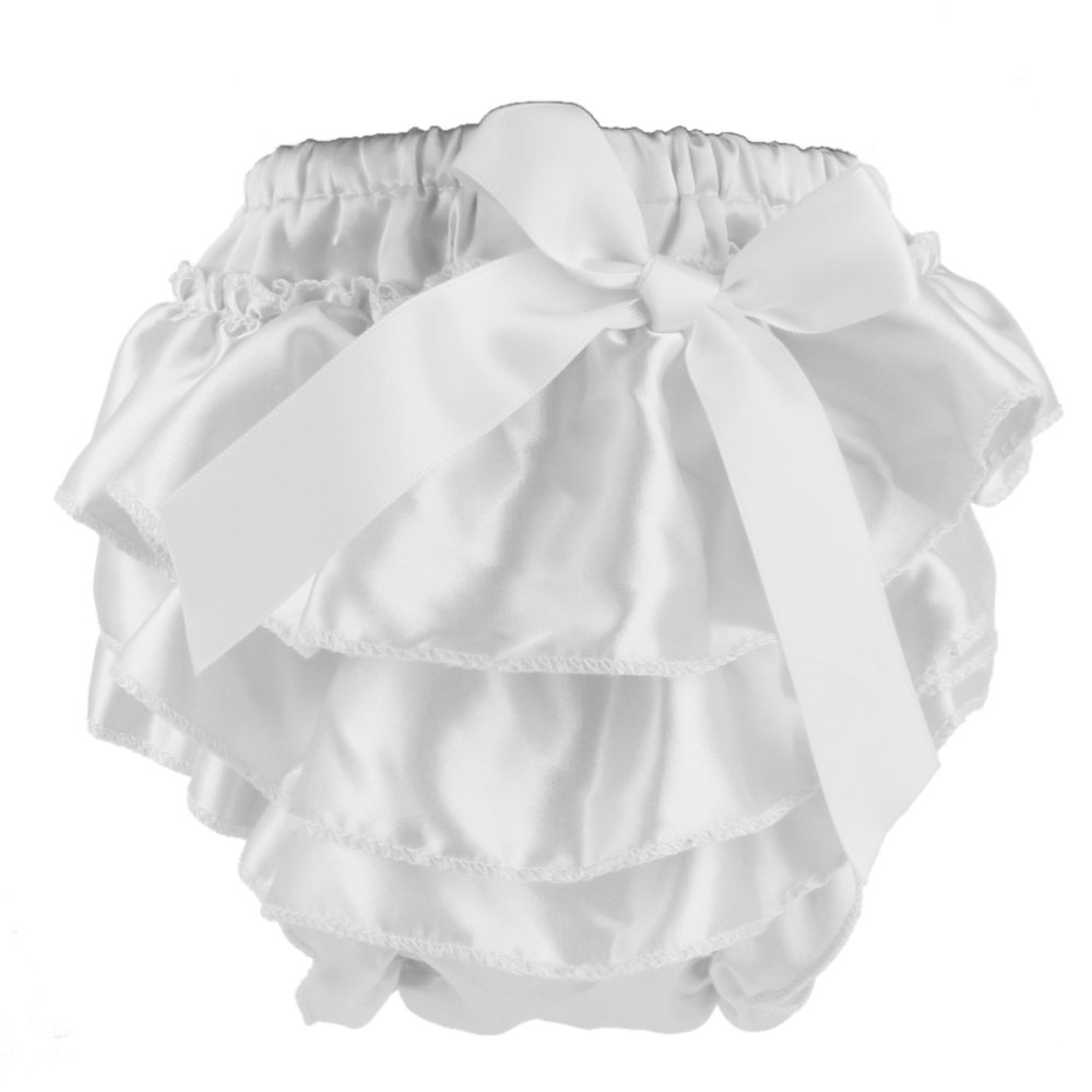 Baby Girl Satin Bowknot Panties Bloomers Diaper Cover for 0-6 Months S White - Intl