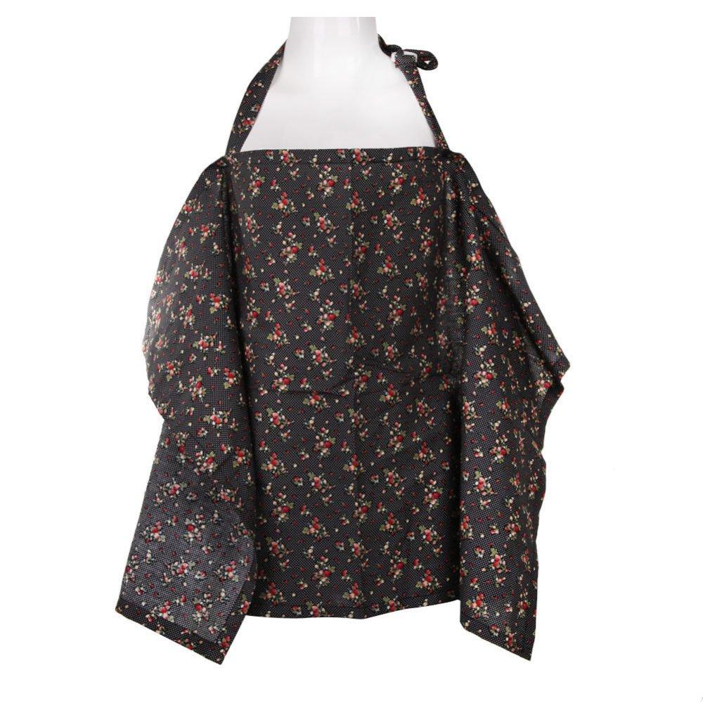 Baby Mum Breastfeeding Nursing Poncho Cover Up Cotton(Black Cherry) (Intl)