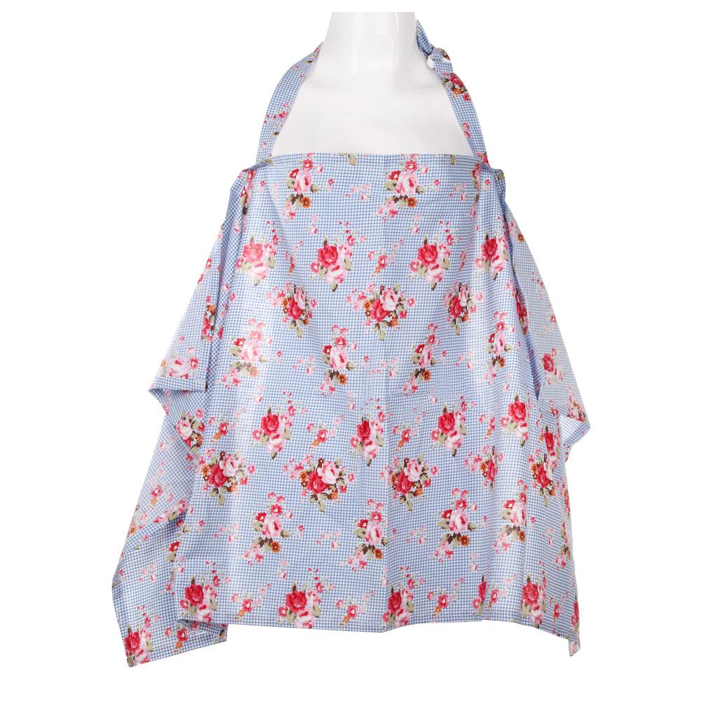 Baby Mum Breastfeeding Nursing Poncho Cover Up Cotton(Blue Flower) - Intl