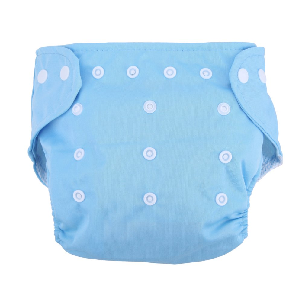 Baby Soft Washable Adjustable Grid Diapers (Blue)