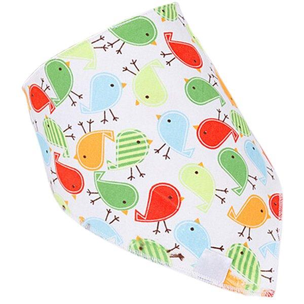 Bluelans Baby Boy Girl Birds Cotton Saliva Towel Lovey Buttons Thick Bib Feeding Bandana (Intl)