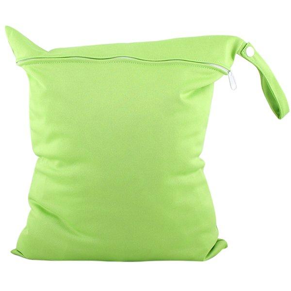 Bluelans Baby Nappy Diaper Bag Reusable Wet Dry Cloth Zipper Waterproof Holder Green (Intl)