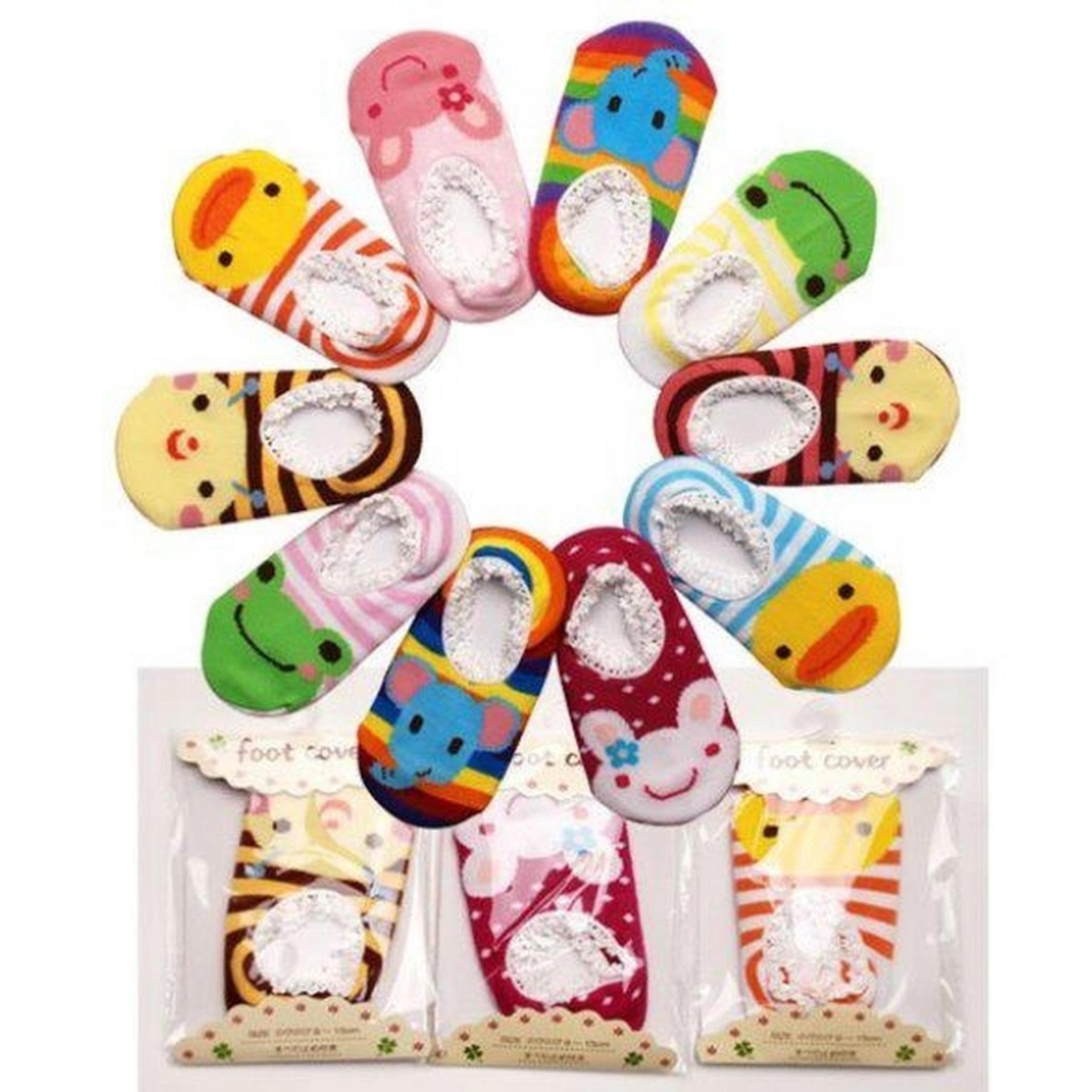 Bộ 10 tất hoạt hình chống trơn cho bé tập đi từ 0-15 tháng tuổi