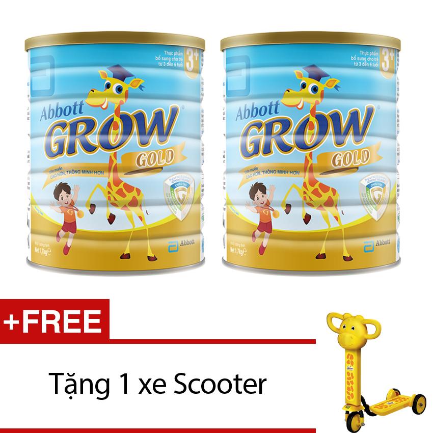 Bộ 2 sữa bột Abbott Grow Gold 3+ Hương Vani 1,7KG + Tặng 1xescooter