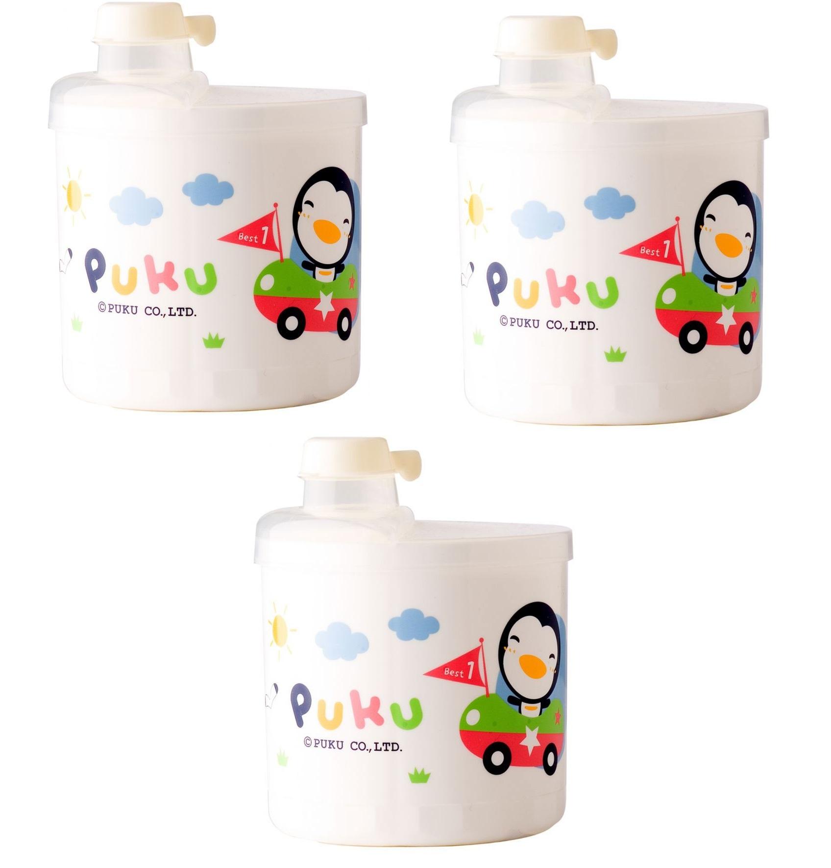 Bộ 3 hộp chia sữa 4 ngăn Puku 11003 (Trắng)